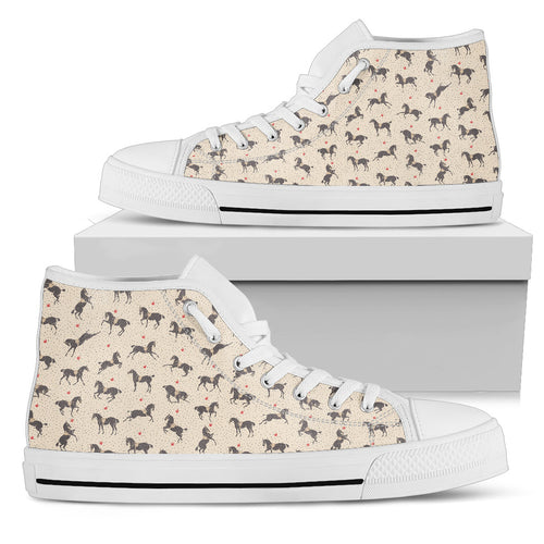 Horses! White Women's High Top Shoes