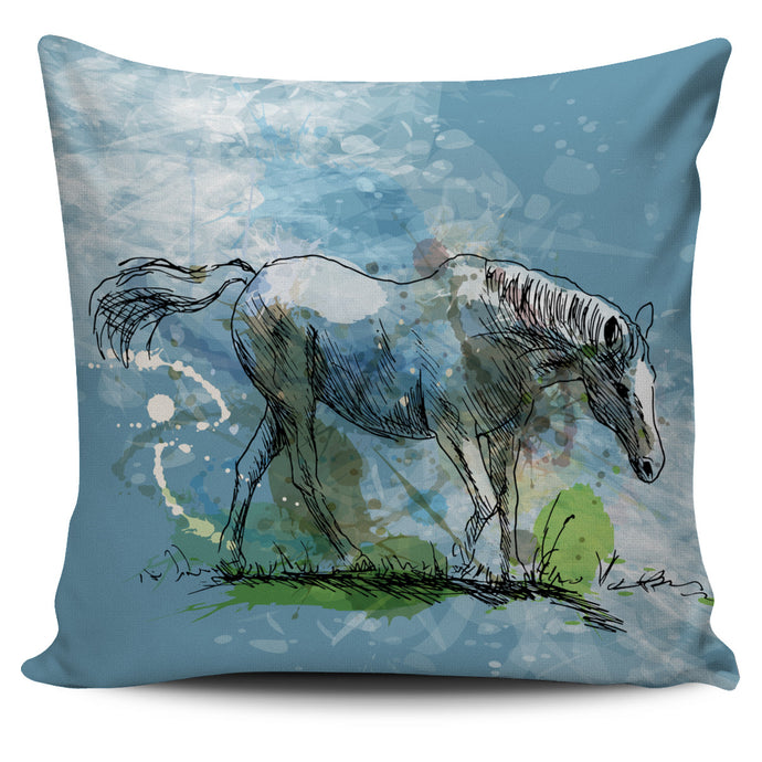 Blue Lovely Horse Pillow Cover