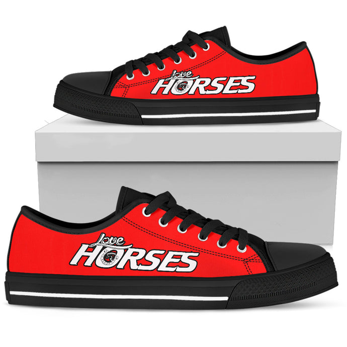 Love Horses - Red Women's Low Top Shoes