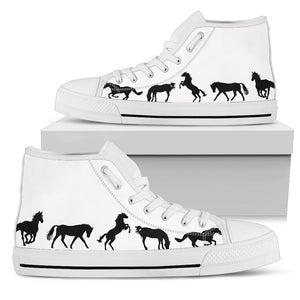 Group of Horses - White Women's High Top Shoes