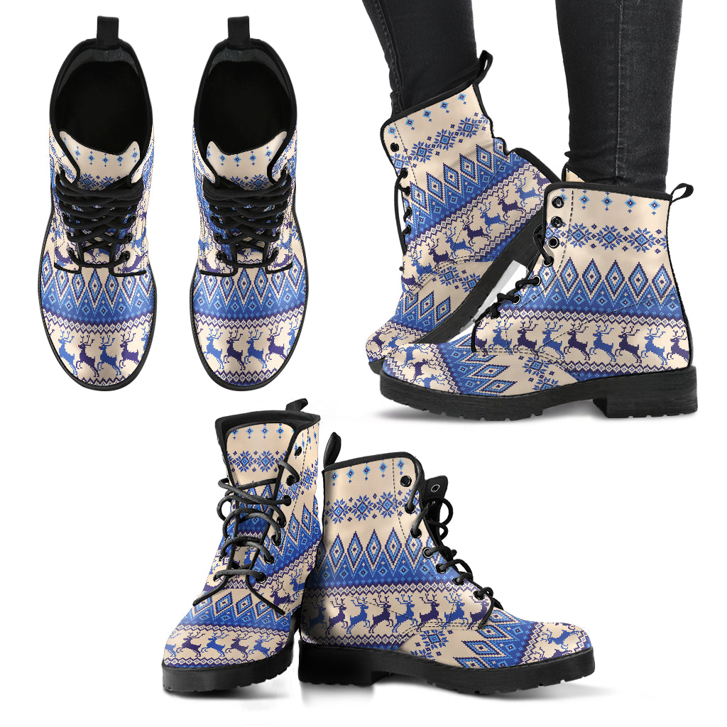 Blue Reindeer Christmas Women's Leather Boots