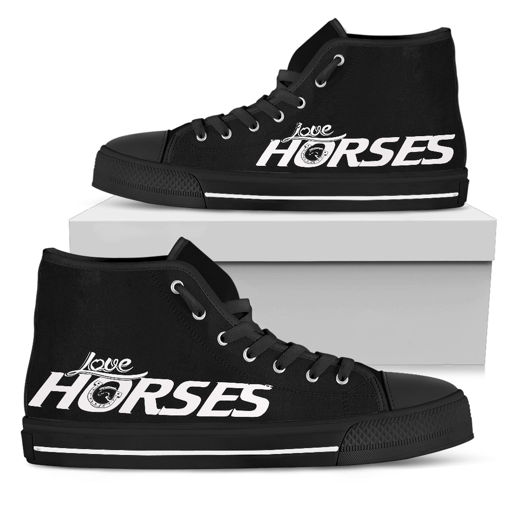 Love Horses - Black Women's High Top Shoes