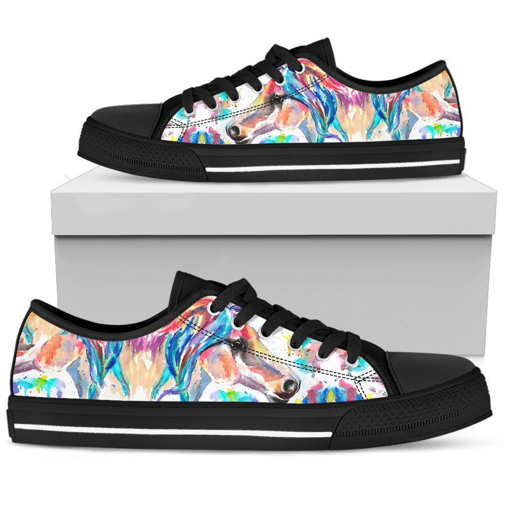 Abstract Beautiful Horse - Black Women's Low Top Shoes