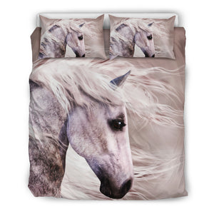 Noble White Horse Bedding Set
