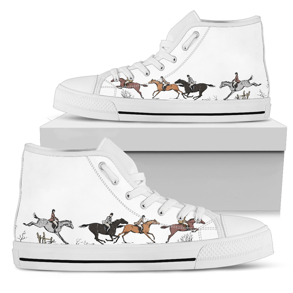 Horse Riders - White Women's High Top Shoes