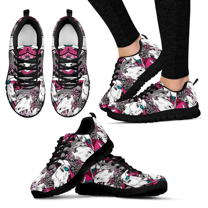 Beautiful Horse With Roses Women's Sneakers