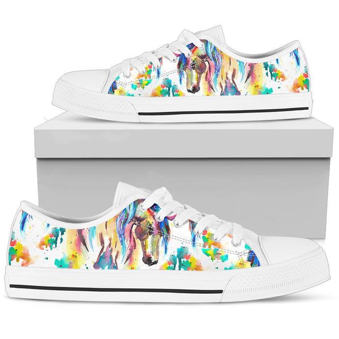 Artistic Horse - White Women's Low Top Shoes