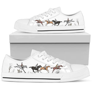 Horse Riders - White Women's Low Top Shoes