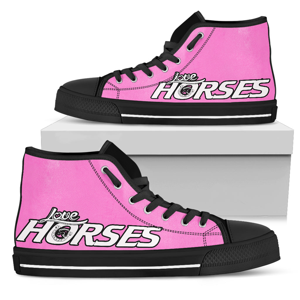 Love Horses - Pink Women's High Top Shoes