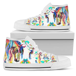 Abstract Rider- White Women's High Top Shoes