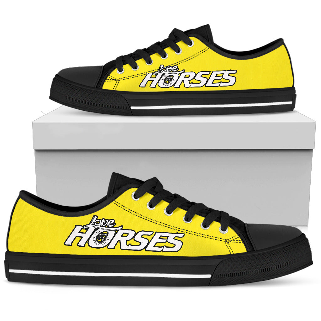 Love Horses - Yellow Women's Low Top Shoes