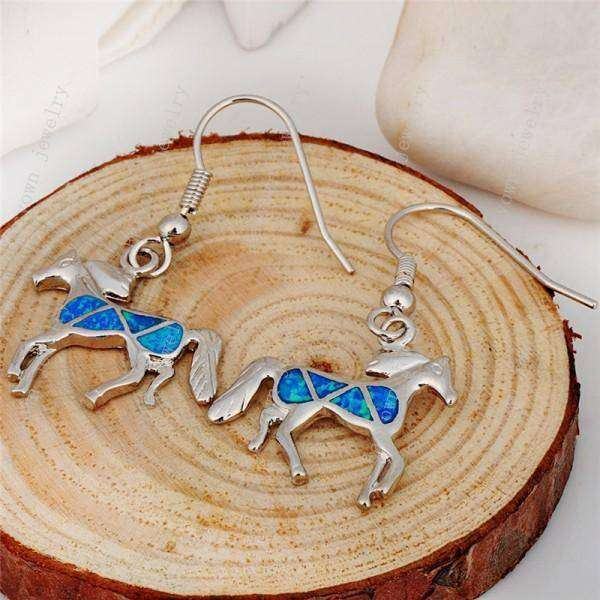 925 Silver Opal Stone Horse Earrings