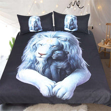 Bed set with a Newborn Lion displaying