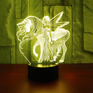 Girl with Unicorn LED 3D Table Lamp
