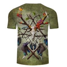 shirt with Barbarian Dreamcatcher displaying painted symbols & feathers with elegant nature shades