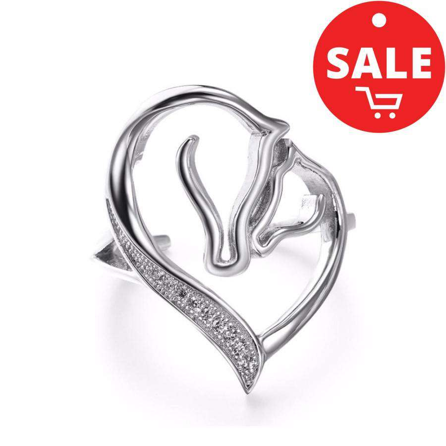 Horse 925 Silver Love In The Air Ring