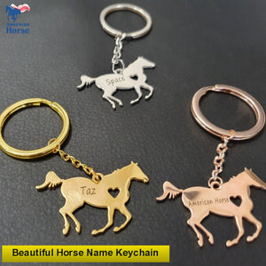 Beautiful Custom Name Horse Keychain