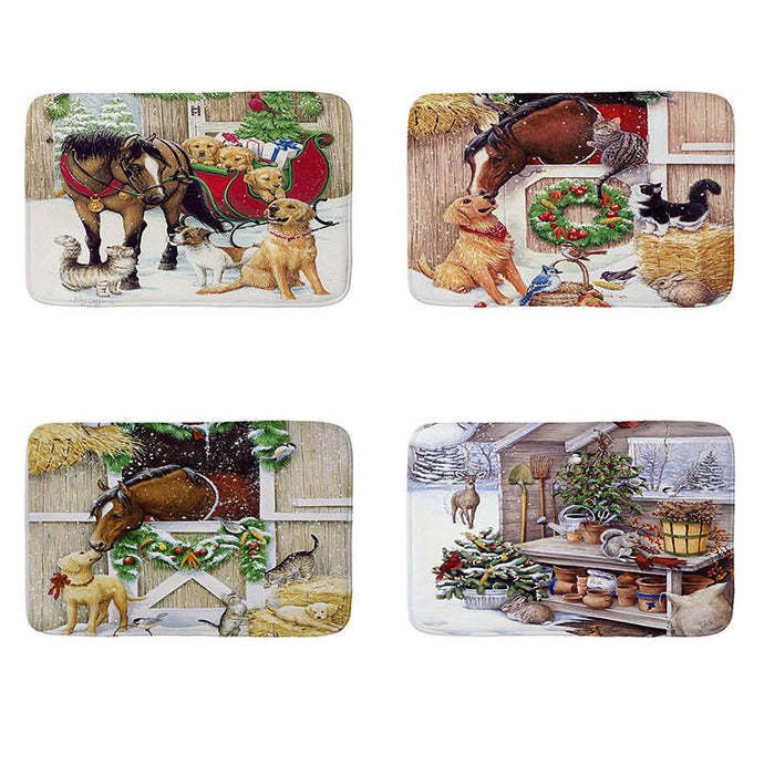 Christmas Cartoon Horse Mat