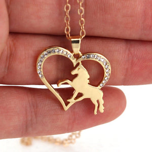Running Horse Heart Necklace