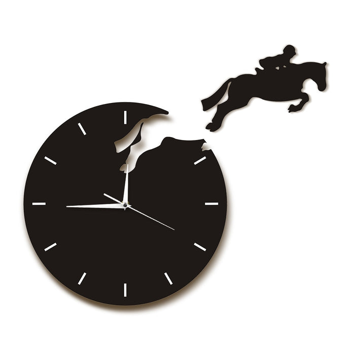 Horse Rider Jumping From The Clock Hanging Wall Clock