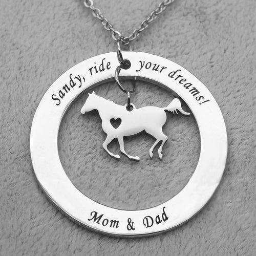 Unique Round Customized Horse Necklace