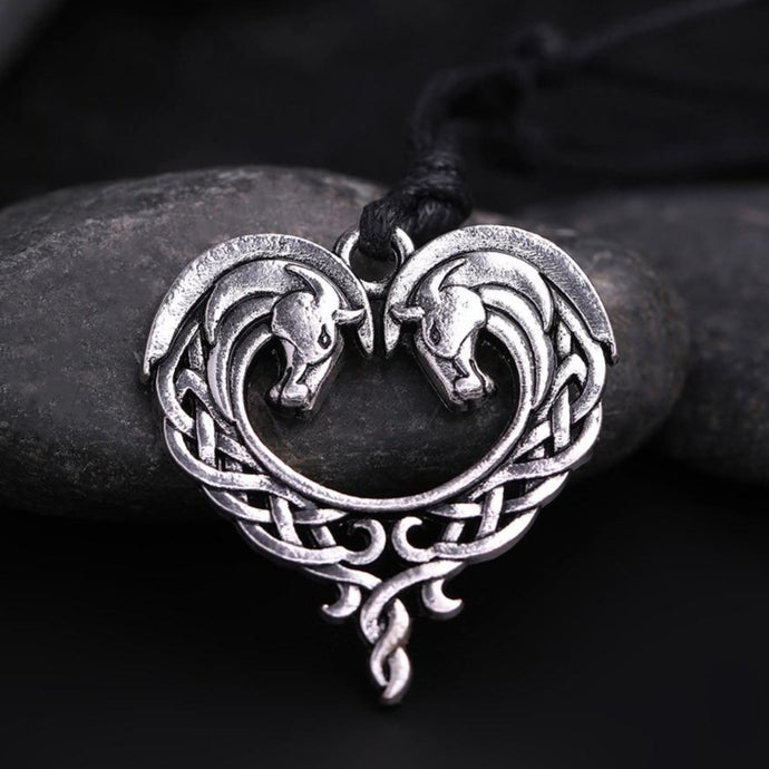 Antique Horse Heart Pendant Necklace