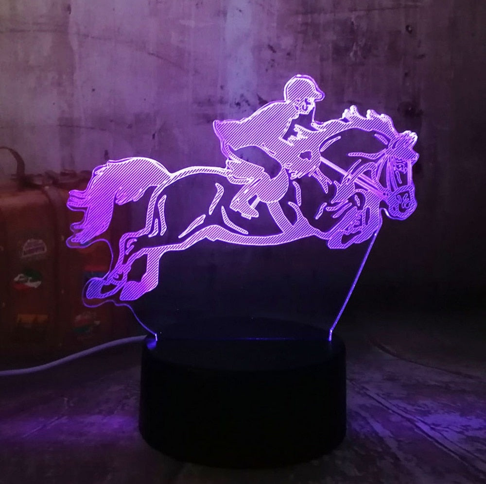 Equestrian Riding LED 3D Lamp
