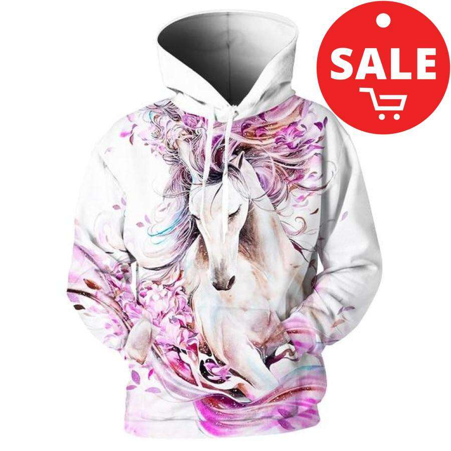 hoodie with noble White Horse - Blossoming by Gabriel