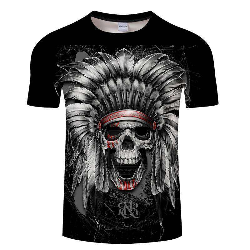 shirt with an Ancient Native Skull displaying painted