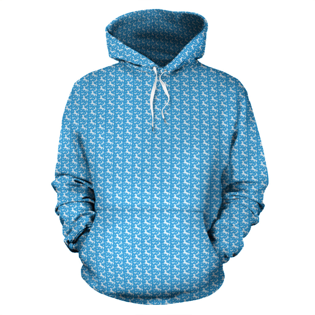 Sky Blue Galloping Horses Hoodies