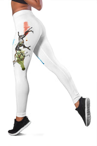 Two White Running Horses Leggings