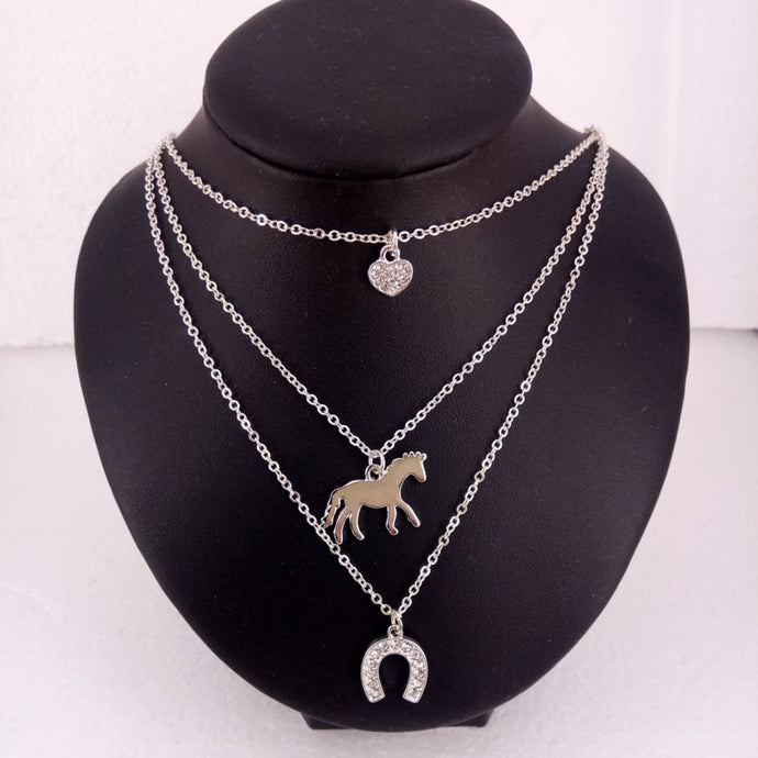 3 Layers Horse Charm Necklace