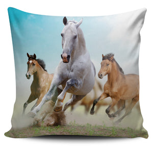 Wild Running Horses Pillow Cover