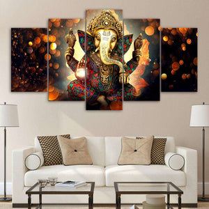 art with Indian styled Elephant displaying painted decorations