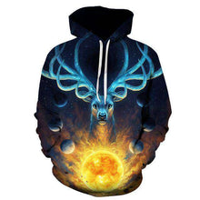 Hoodie with majestic Deer Celestial by JoJoes Art