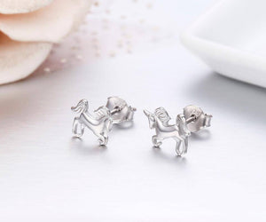 925 Silver Riding Unicorn Earrings - American Horse