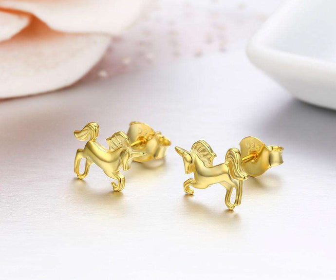 Horse 925 Silver Riding Unicorn Earrings