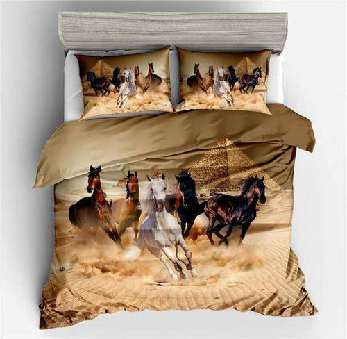 bed set with Riding Horses