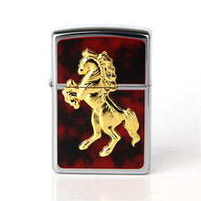 Gold Lighter with a marching horse displaying