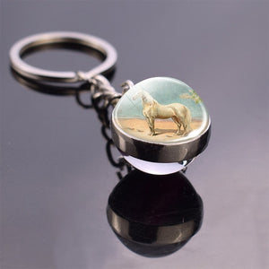 Double Sided Glass Ball Horse Keychain