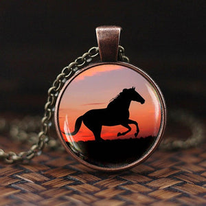 Horse Glass Pendant Necklace