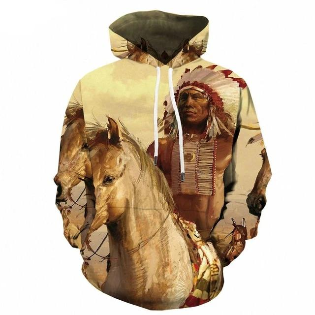 White Indian Horse Hoodie