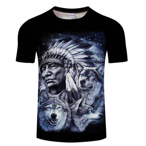 shirt with a majestic wise Chief and his pack of Wolves