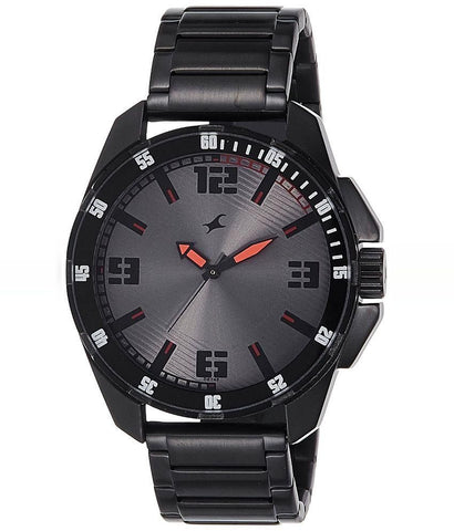 Black Metal Analog Watch for Men