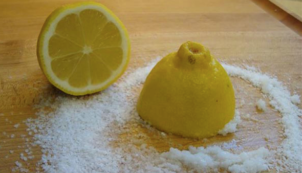 Lemon and Salt for copper pans