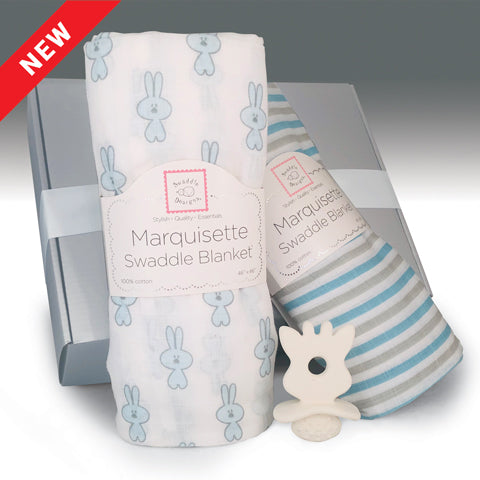Baby Boy Swaddling Blankets and Teether