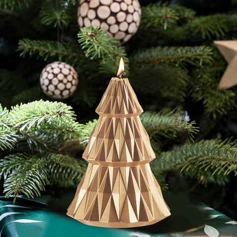 Gold Holiday Tree candle