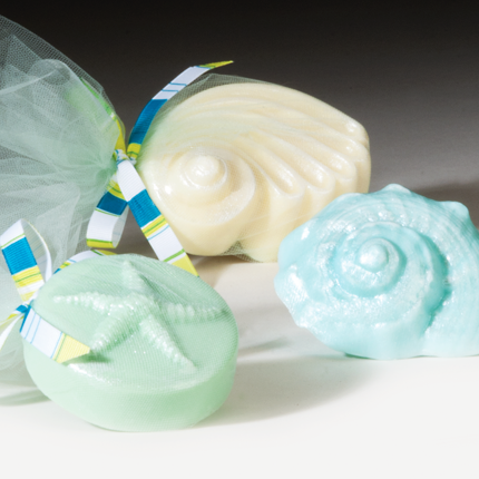 assorted seashell soaps scented and gift wrapped in tulle