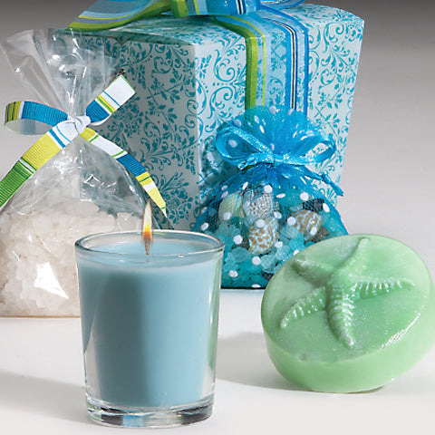 Scented mini-soap, 20-hour candle, bath salts, organza sachet of salt and mini seashells, aqua damask take-out box wrapped in ribbon