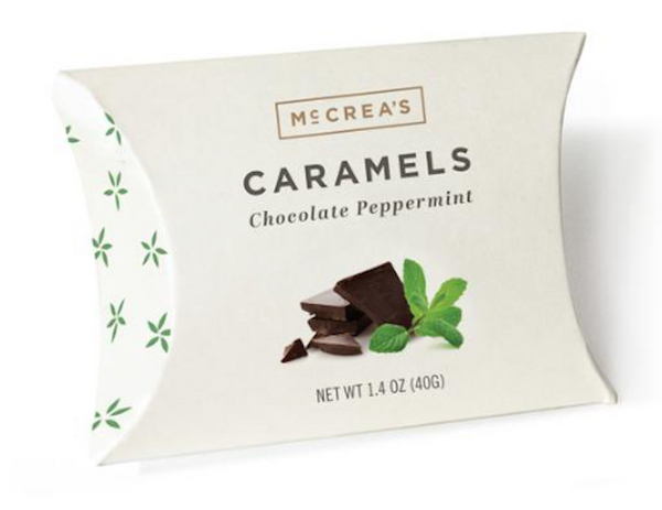 Creamy, melt-in-your-mouth, tongue-tingling caramel with cool peppermint and rich chocolate.  The perfect stocking stuffer!  McCrea's Caramel Candies, Chocolate Peppermint in charming pouch packaging